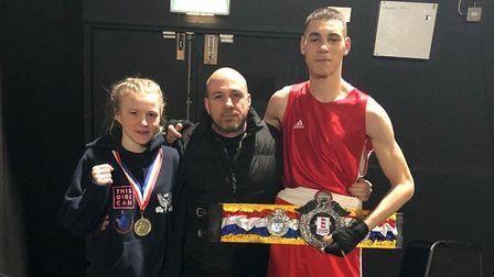 Attleborough Boxing Club's national junior champions Tommy Fletcher, 16, and Lydia ?Socks? Nagle, 15