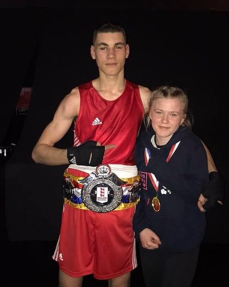Attleborough Boxing Club's national junior champions Tommy Fletcher, 16, and Lydia 'Socks' Nagle, 15