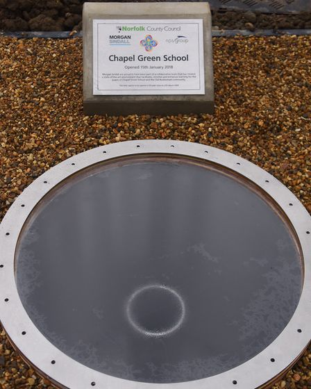 The tube underground ready for the time capsule, with contents from the new Chapel Green School, and