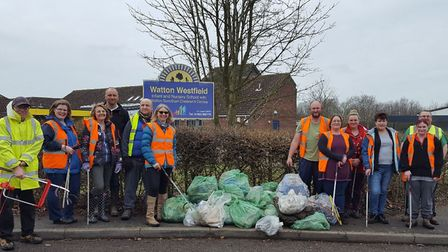 The volunteers who took part in the Watton Westfield Infant and Nursery School PTA litter pick. Pict