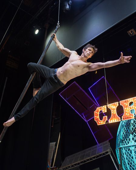 Laci Fossett performing on the aerial pole as part of Cirque Berserk! Photo: Piet Hein-Out