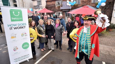 Traders, councillors and supporters celebrate the launch of ShopAppy in Swaffham. Picture: ANTONY KE