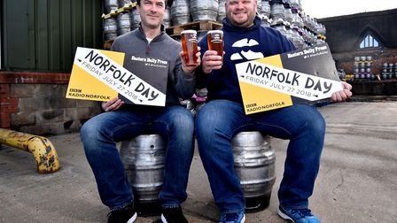 Woodfordes Brewery preparing to celebrate Norfolk Day. CEO James Hughes, left, with chief operating
