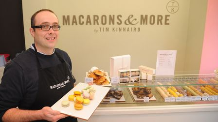 Tim Kinnaird in his shop, Macarons and More, at the Royal Arcade. Picture: Denise Bradley