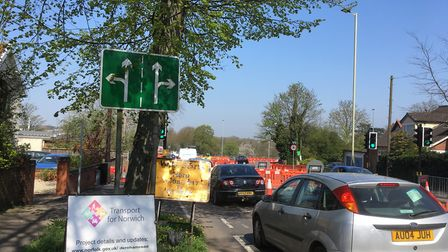 Traffic tailback from the Sweet Briar Road roundabout. Picture: David Hannant