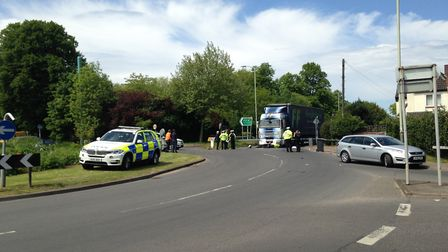 The lorry at the scene of the collision on Earlham Road in Norwich. Picture Luke Powell.