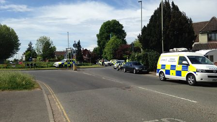 Police at the scene of the collision on Earlham Road in Norwich. Picture Luke Powell.