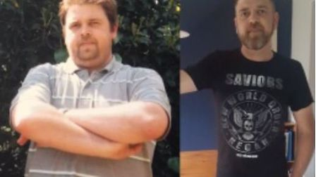 Andrew Peck from Norwich before (left) and after losing 4 stone with Slimming World. Photo courtesy