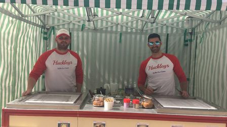 Oliver Hudson (left) and Stephen Buckley of Huckleys Rolled Ice Cream, a new business which has laun