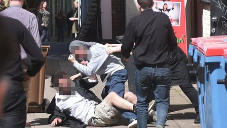 Two men fighting just off Haymarket in Norwich city centre.Picture: ANTONY KELLY