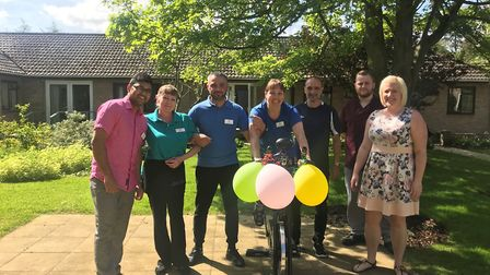 Staff from Thorp House in Griston complete their fundraising bike ride. Picture: Kingsley Healthcare