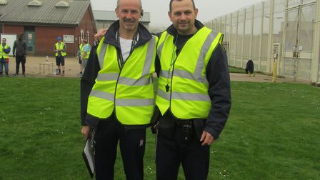 Wayland prison has launched its own parkrun for inmates. Pictured are prison exercise instructors Ro