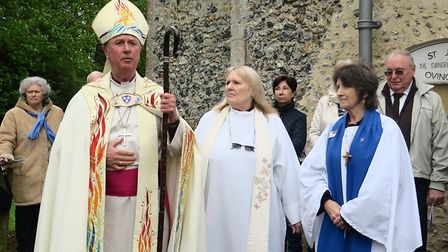 The Bishop of King's Lynn at the rededication service for Ovington Church. Picture: John Hardy
