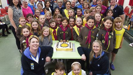 The 2nd Swaffham Brownies pack are celebrating their 50th birthday. Pictured at the front are (L) Ch