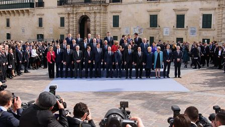 Delegates from the EU Informal Summit gather for the family photo at the Grandmaster's Palace in Val