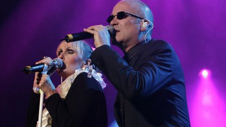 The Human League performing on the Big Top stage on the eve of the Isle of Wight Festival. Picture Y