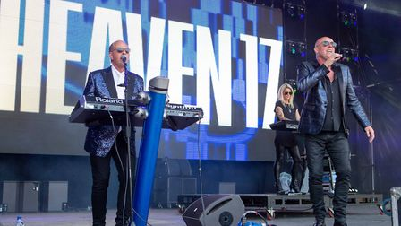 Heaven 17 entertaining the crowds at Let's Rock Norwich 2018 at Earlham Park. Picture: LEE BLANCHFLO