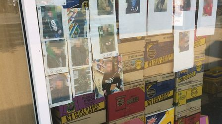 A shop in Suffolk Square, Norwich, has displayed CCTV images of shoplifters that have targeted their