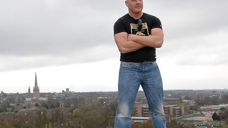 Earl Ling, boxer and actor, at his favourite place, Mousehold Heath overlooking the city.Photo: Deni