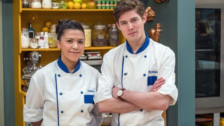 BAKE OFF: THE PROFESSIONALS - Chefs from Hotel Café Royal Leanne and Romain.