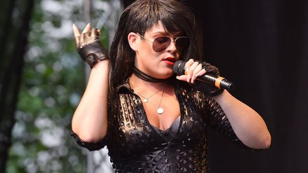 Rihanna tribute act performs at the Norwich Nearly Festival in Chapelfield Gardens. PHOTO: Nick Butc