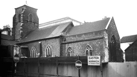George Plunkett (1913-2006) captured a rare view of St Mary the Less in 1956 when two bomb-damaged b