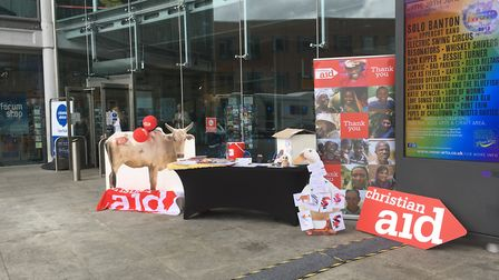The Christian Aid stall outside the Forum Photo: Archant