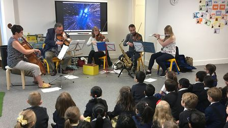 Musicians from Norfolk Music Hub perform at Charles Darwin Primary in Norwich as part of Live Music