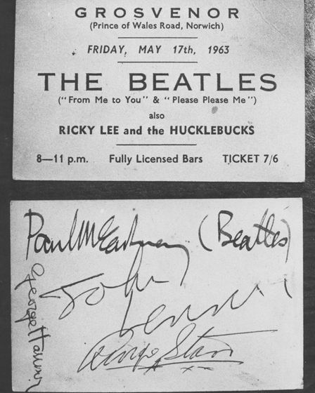 Copy of a ticket to a Beatles show at the Grosvenor Rooms in Prince of Wales Road Norwich. The ticke