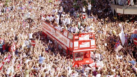 Thousands of fans surround the England team bus in Luton following the team's exit from the 1990 Wor