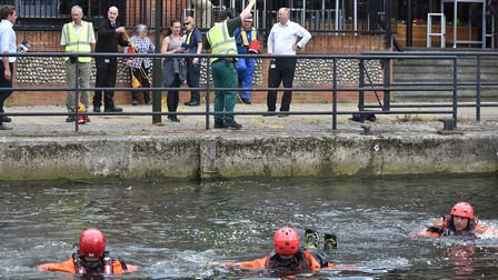 The Broads Authority with the RNLI, the coastguard and fire service hold a river safety lesson for e