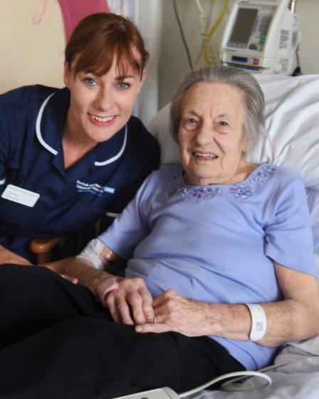 Patient Ena Mattless who has used the new 1950s style day room at the Norfolk and Norwich University