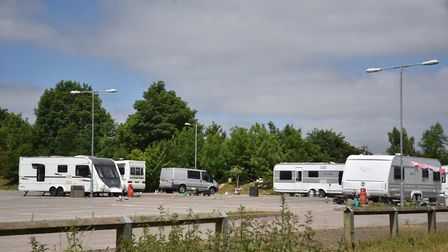 The travellers who were at Harford Bridge Park and Ride. Picture: ANTONY KELLY
