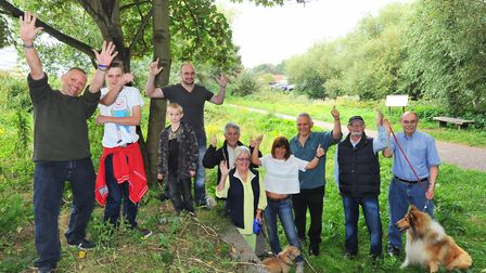 Friends of Train Wood and Marriott's Way at the site of Norwich City Station. Photo: Bill Smith