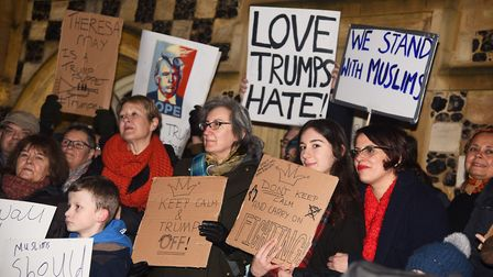 Protesters gathered outside the Town Hall in King's Lynn against Donald Trump's Muslim ban. Picture: