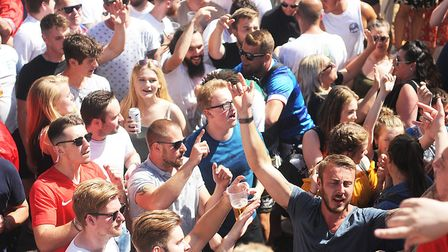 Fans watching the England game against Panama. Picture: Ian Burt