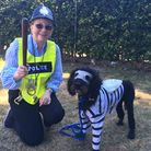 Hethersett Jubilee Youth Club fun dog show and fete. Pictured are Angela Chamberlain with Theo the l