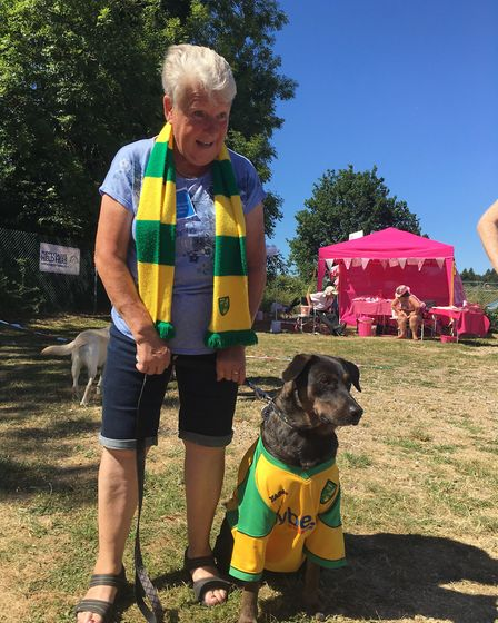 Hethersett Jubilee Youth Club fun dog show and fete. Pictured are Sue Fox and Hugo, who took part in