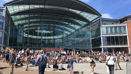 Crowds in front of the Forum in Norwich at the Lord Mayor's Celebration. Picture: Stuart Anderson