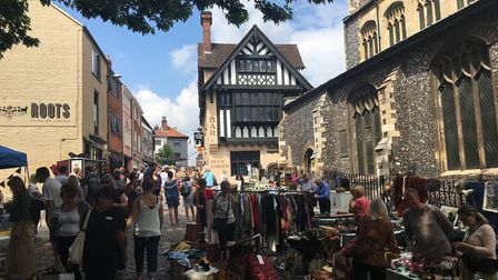 People enjoying the Norwich Lanes Summer Fayre, part of the Lord Mayor's Celebration. Picture: Stuar