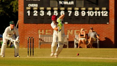 Joe Gatting on his way to an unbeaten century for Swardeston against Manor Park in Saturday's EAPL m