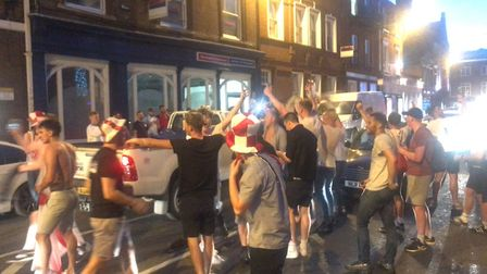 England v Colombia World Cup match celebrations on Prince of Wales Road.Picture: NEIL PERRY
