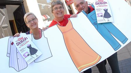 British Heart Foundation's The Big Stitch. Pictured: Manager Heather Doe, Sharon Hall and John Palme
