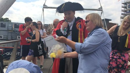 Lord Mayor Martin Schmierer and race co-ordinator Jane Stafford at The Great Norwich Duck Race 2018.