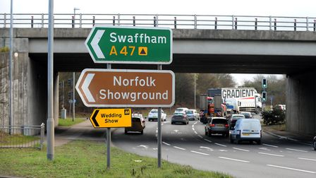 The Thickthorn roundabout on the edge of Norwich. Pic: Highways England.