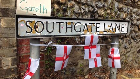 Southgate Lane at the top of Bracondale in Norwich gets a World Cup makeover (Picture: Tony Cooper)