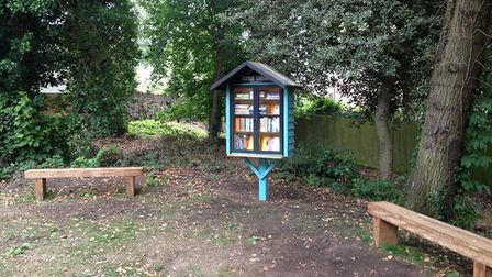 The little library book share station that has been set up in Old Library Wood in Norwich. Picture:
