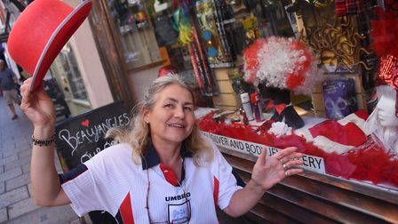 Louise Green, assistant manager at Beaujangles, ready for the England World Cup match. Picture: DENI