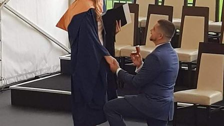 Mason Durrant, proposing to Sasha Fountain after her graduation from the Univerisity of East Anglia.