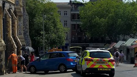 Police are attending an accident at Guild Hall Hill after a blue Merecedes collided with a pedestria
